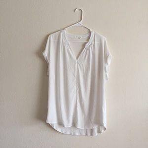 Pleione White Short Sleeve Blouse